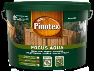 Pinotex Focus Aqua / Пинотекс Фокус Аква защитная пропитка для деревянных заборов и садовых строений
