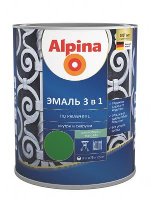 Alpina / Альпина эмаль алкидно уретановая по ржавчине 3 в 1